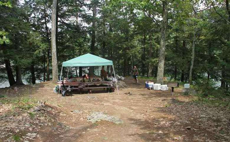 a covered picnic table area in the woods