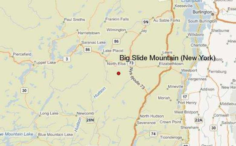 map showing where big slide mountain is located in new york state