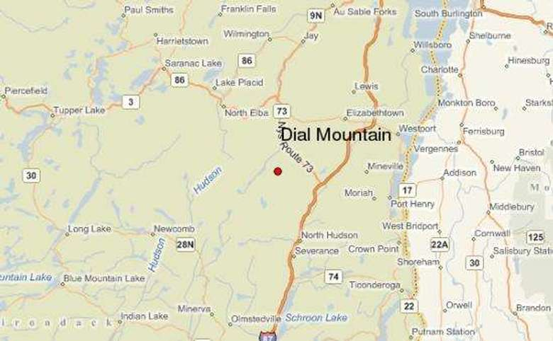 map showing dial mountain