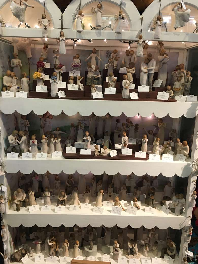 display of willow tree figurines at live love laugh