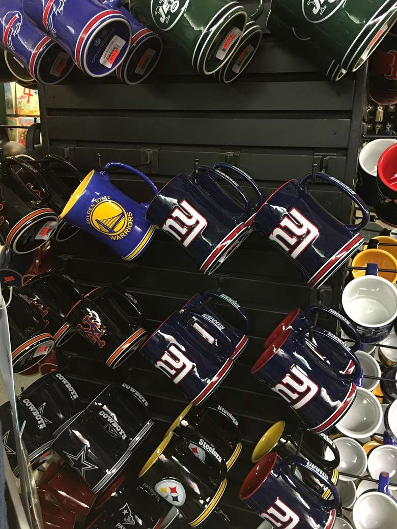 display of sports mugs at live love laugh