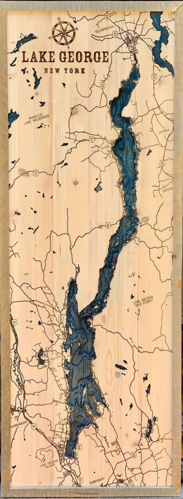 Locally Handcrafted Map of Lake George.