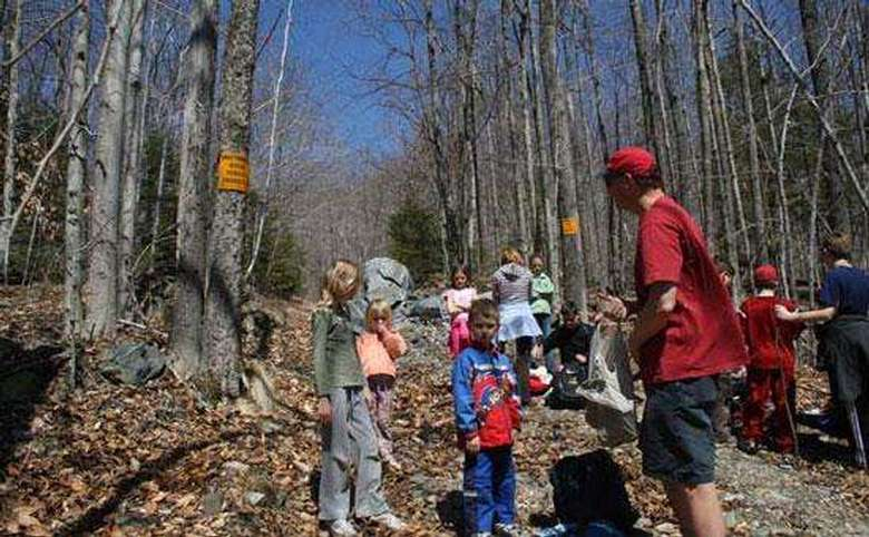 group of adults and kids hiking in the woods