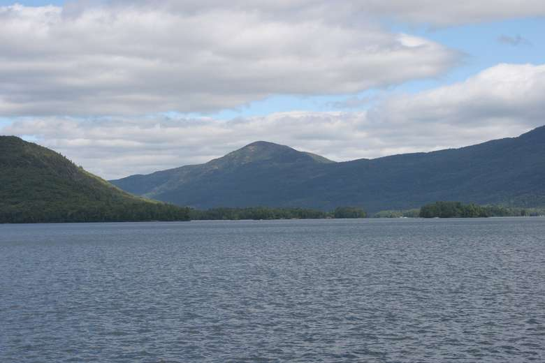 lake george and surrounding mountains