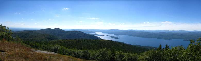 view from the false summit of buck mountain overlooking lake george