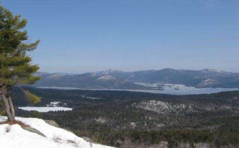 view of lake george from cat mountain in the winter