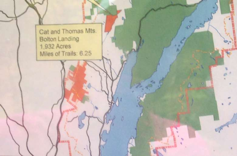 map showing cat and thomas mountains on the west side of lake george