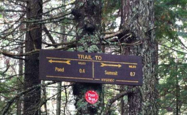 trail sign that shows a pond in one direction and the summit in the other