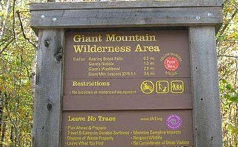 sign for the giant mountain wilderness area
