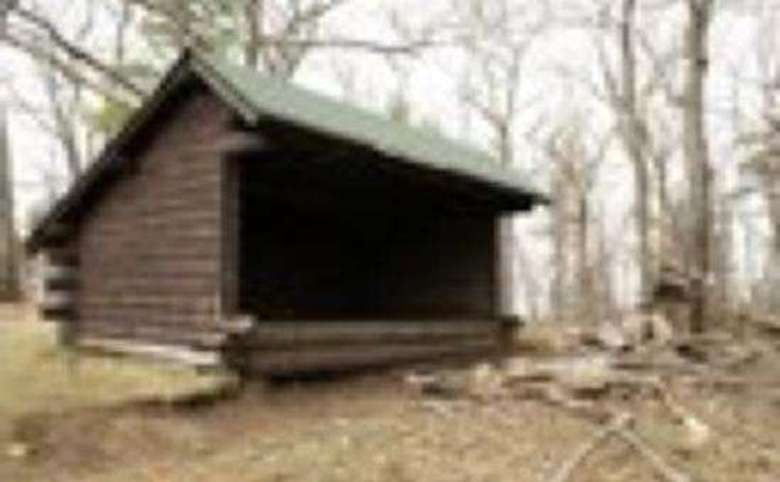 wooden lean-to in the woods