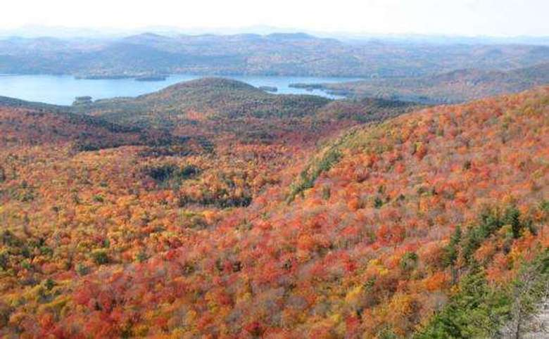view of fall foliage from the sleeping beauty mountain summit and lake george in the distance