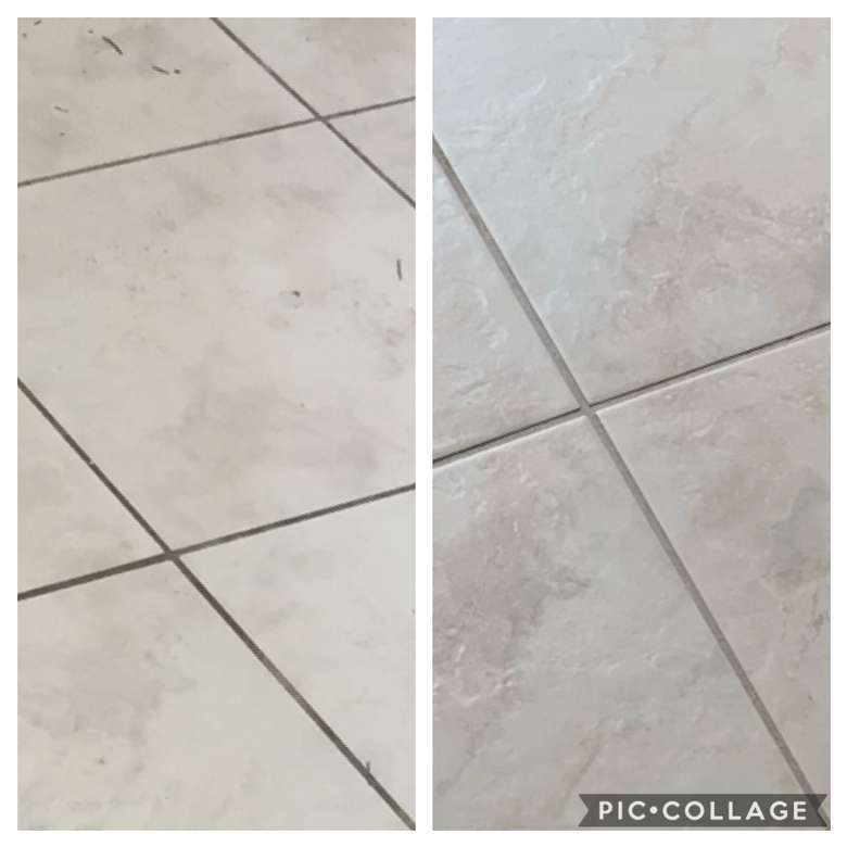 Before and after tile and grout