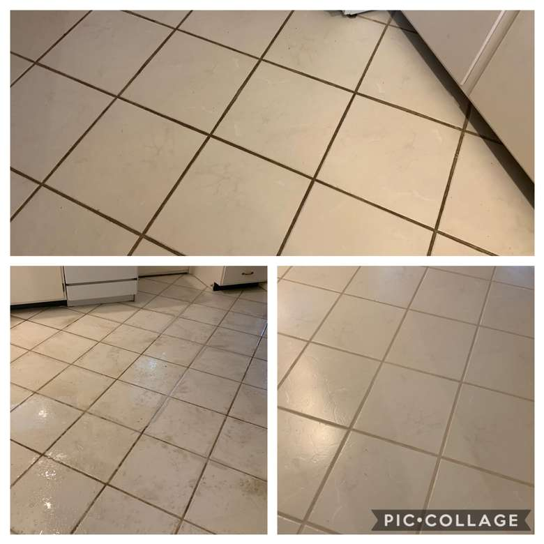 Before, During, and after tile and grout cleaning