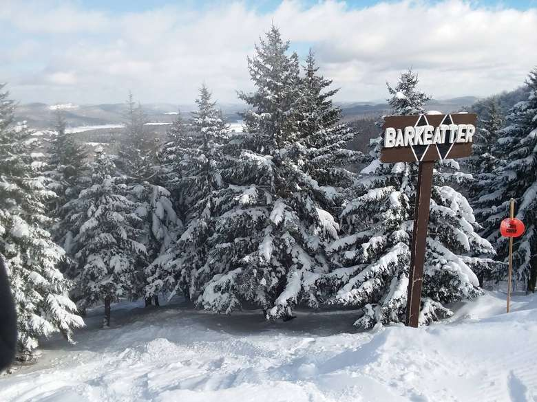 top of the mountain with Barkeater trail sign