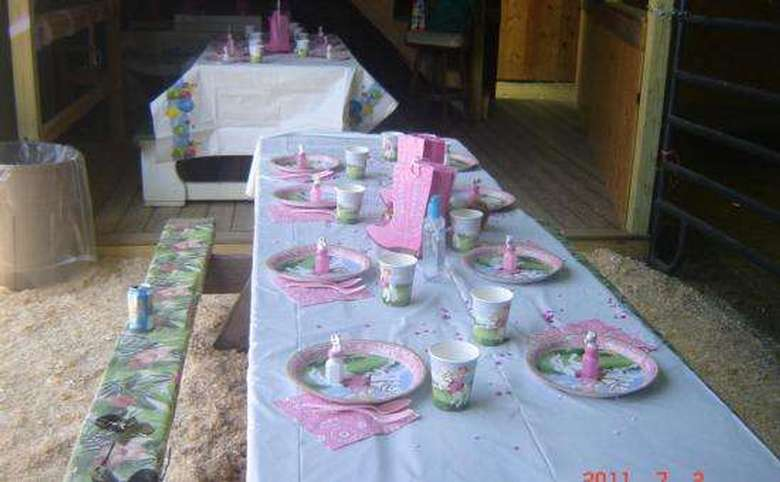 tables set up for a girls' birthday party