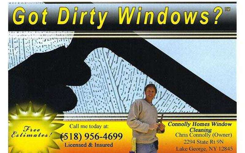 "Graphic that says ""got dirty windows"" with an image of a squeegee"