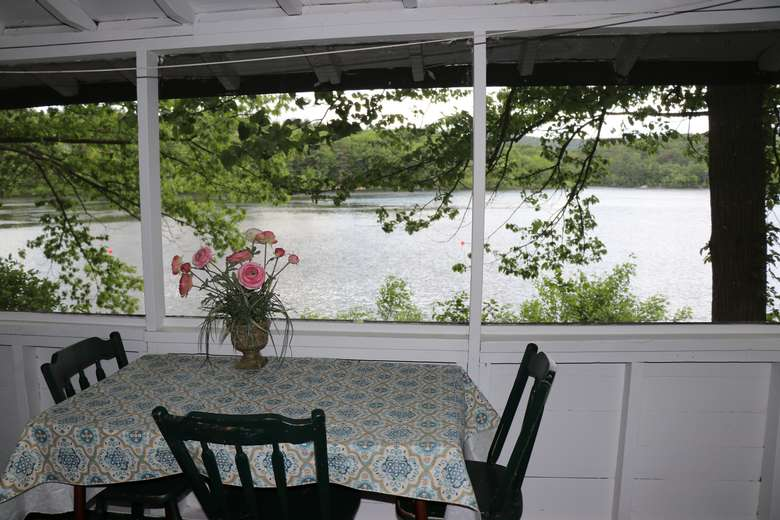 small table with pink flowers on on a deck, view of water