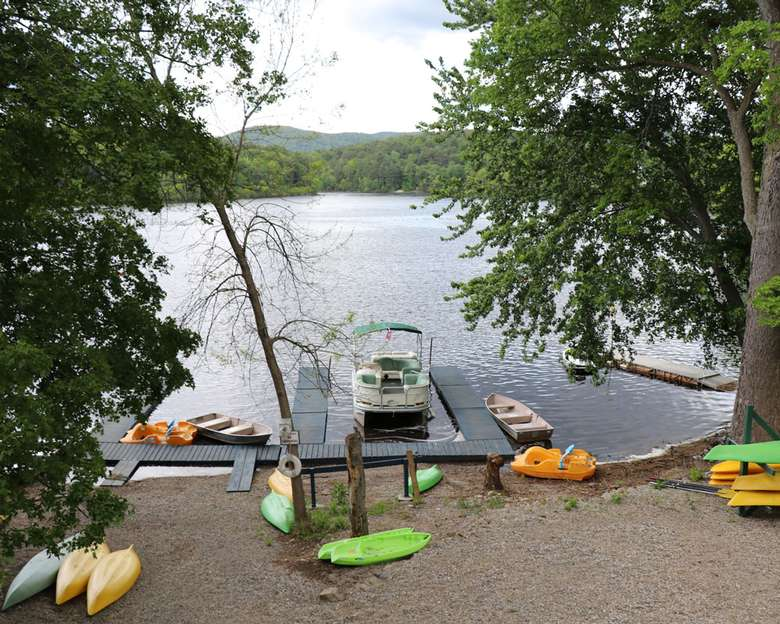 canoes or kayaks scattered on the property