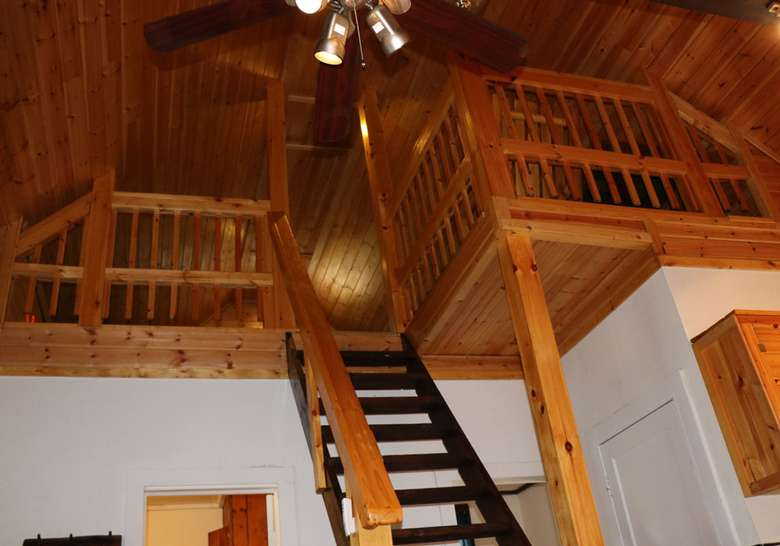 view of upstairs loft area from downstairs