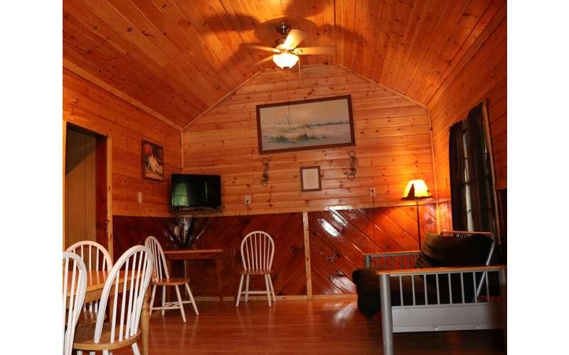 Adirondack-style living room area