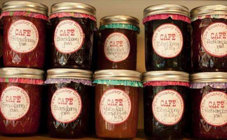 jars of jams and jellies in different flavors