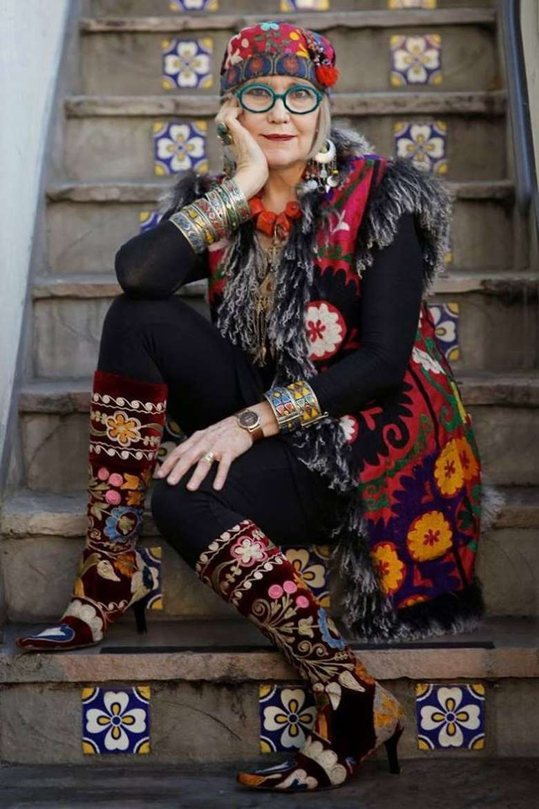 woman wearing an eccentric colorful outfit
