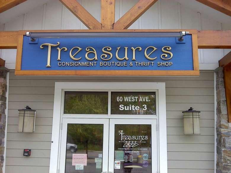 exterior of treasures consignment boutique