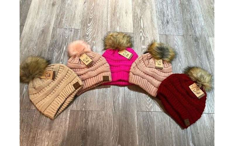 five winter hats in a row