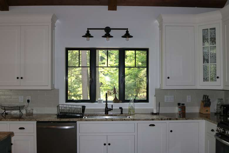 kitchen sink with a window over it