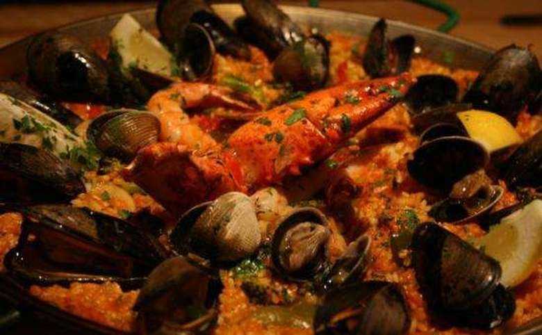 seafood dish with mussels, clams, and crab