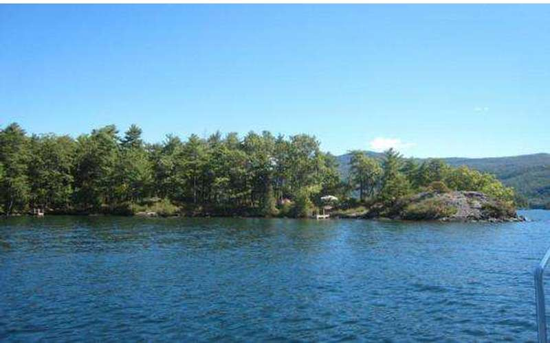 View of an island in Lake George