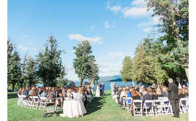 Wedding ceremony looking over Lake George