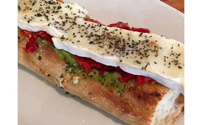 brie and tomato on a baguette