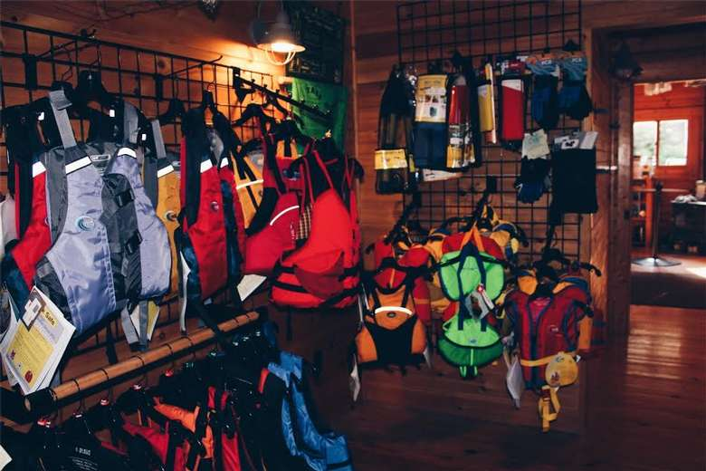 racks of life jackets for sale