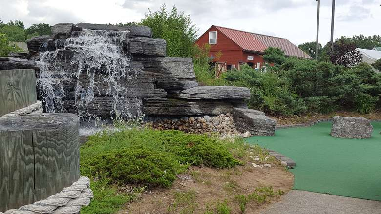 water feature at a mini golf course