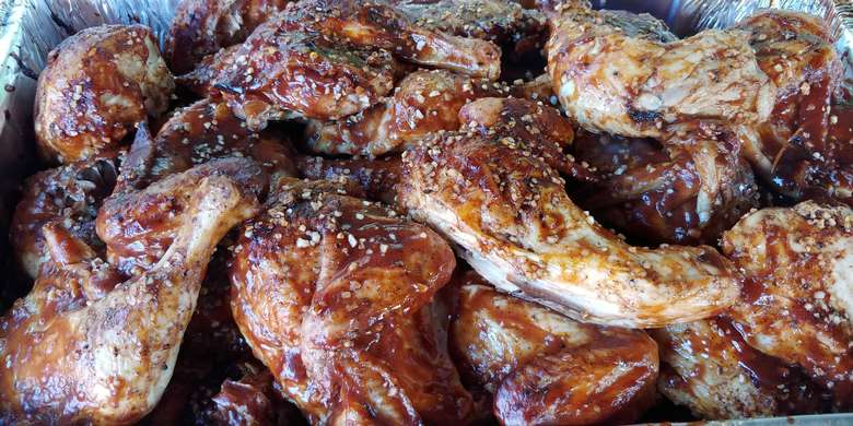 close up view of BBQ chicken