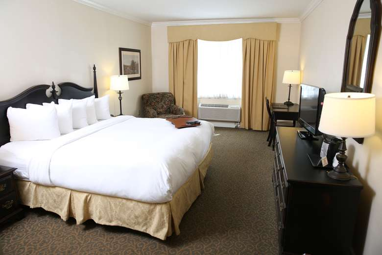hotel room with a king-size bed