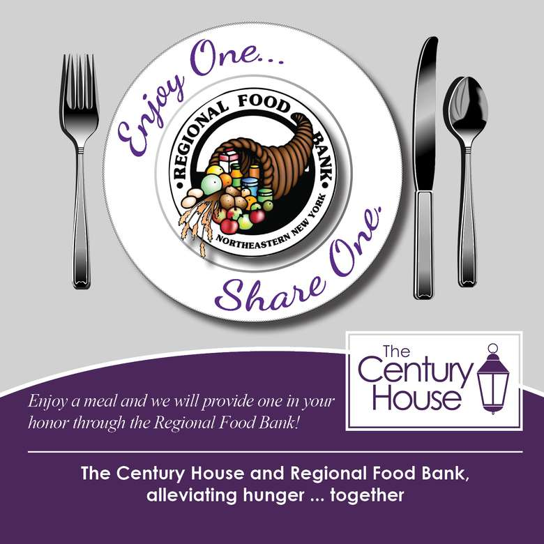 poster that says enjoy one share one with the regional food bank and century house logos
