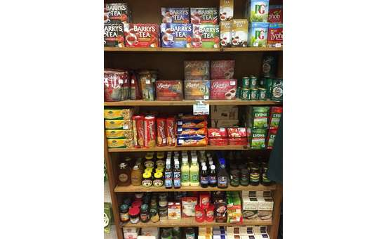 shelves full of irish teas and biscuits