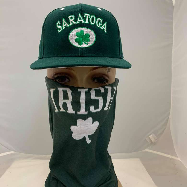 hat and face mask on mannequin