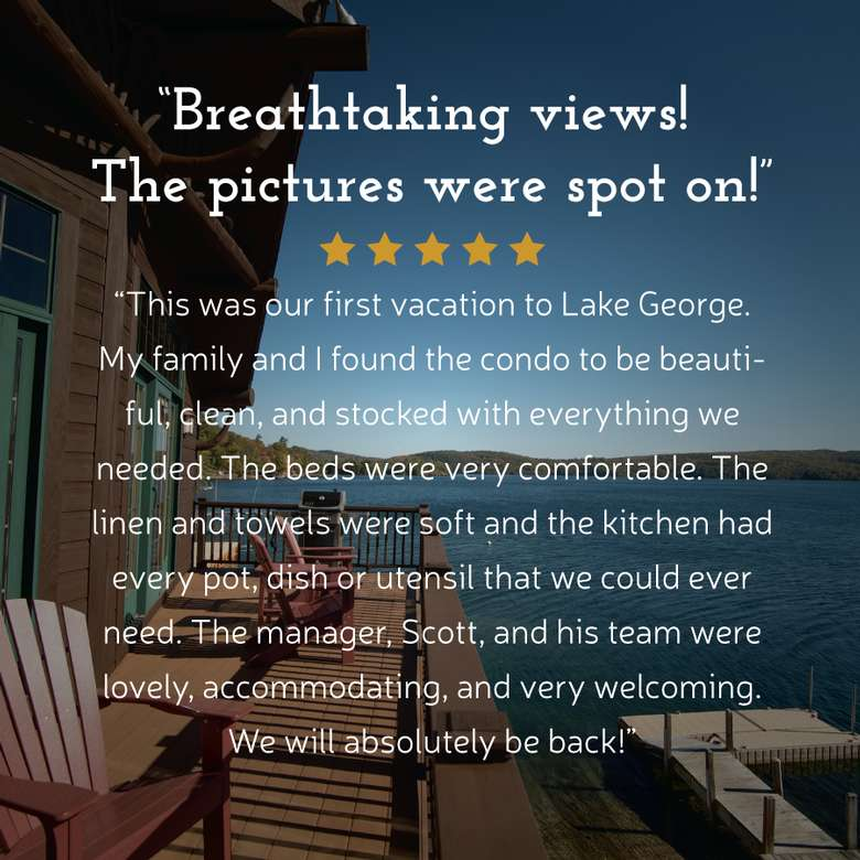 view of deck area and chairs with overlaid text that says breathtaking views, the pictures were spot on