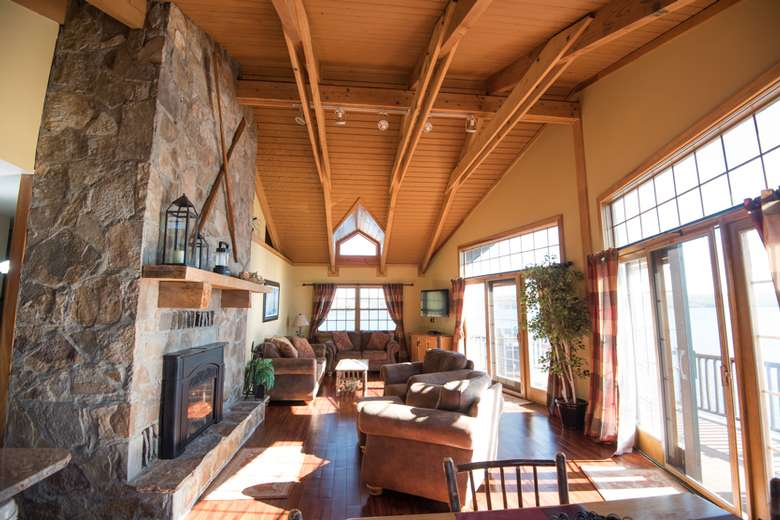 lobby area with fireplace at dockside landing marina