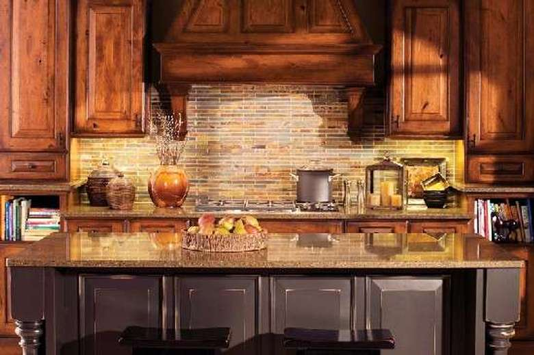 large breakfast bar in a kitchen with some fruit on it