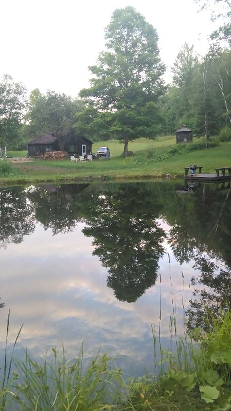a cabin across a small pond