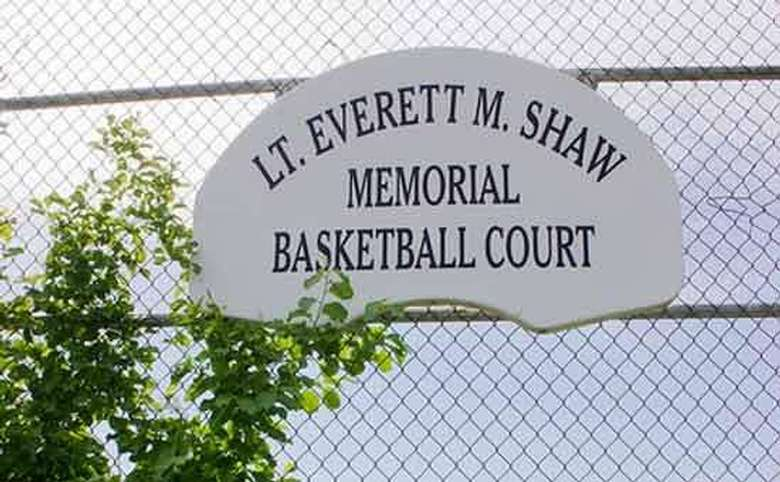 Lt. Everett M. Shaw Memorial Basketball Court sign