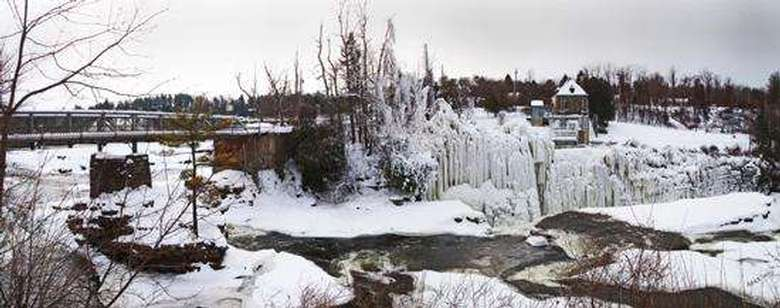 peaceful winter landscape of the ausable river