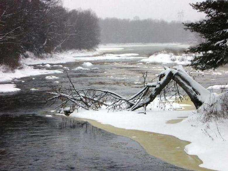 rushing waters of grasse river in winter