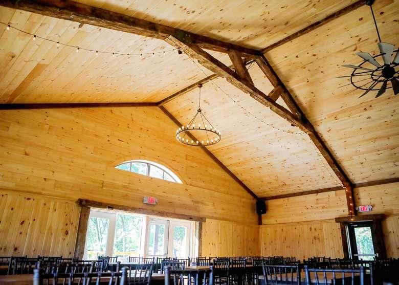 high ceilings in a rustic barn