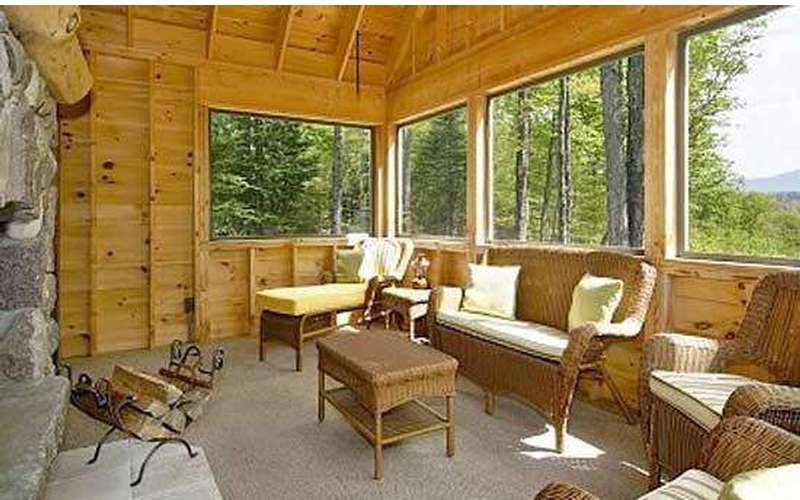 Screen porch with custom fireplace