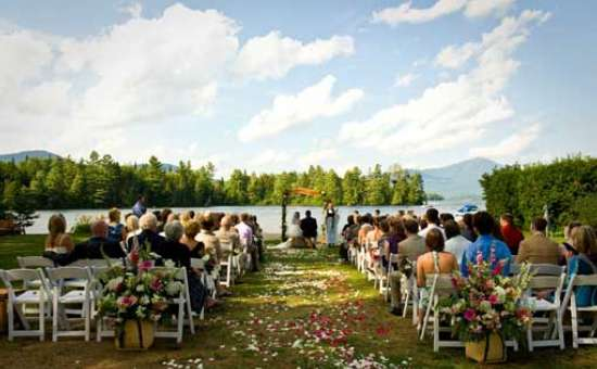 wedding ceremony on the shore of a lake